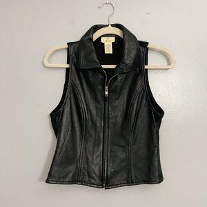 Vintage Black Genuine Leather Motorcycle Vest - S